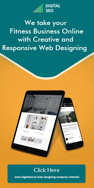 A blue and orange colour banner ad for Responsive Web Designing In Chennai.