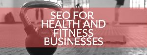 A fitness gym equipment in the background and text written as SEO for health and fitness business written on a transperant layer.